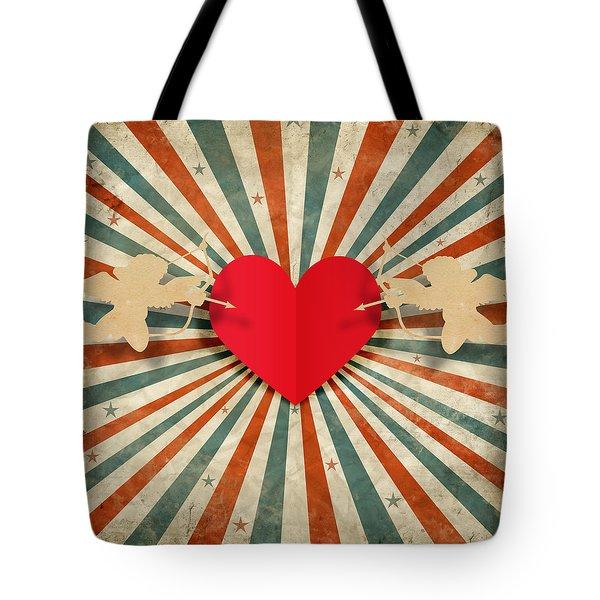 heart and cupid with ray background Tote Bag by Setsiri Silapasuwanchai