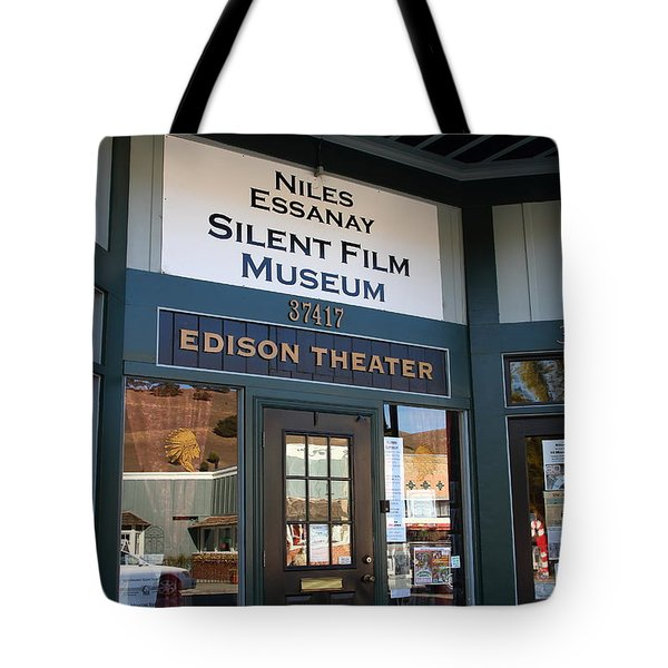 Historic Niles District in California Near Fremont . Niles Essanay Silent Film Museum Edison Theater Tote Bag by Wingsdomain Art and Photography
