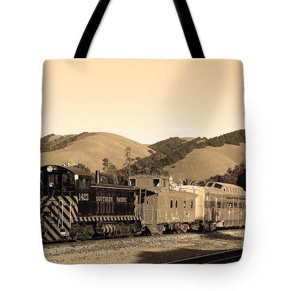Historic Niles Trains in California.Southern Pacific Locomotive and Sante Fe Caboose.7D10819.sepia Tote Bag by Wingsdomain Art and Photography