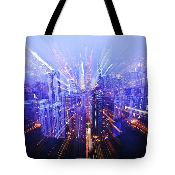 Hong Kong Lights Tote Bag by Ray Laskowitz - Printscapes