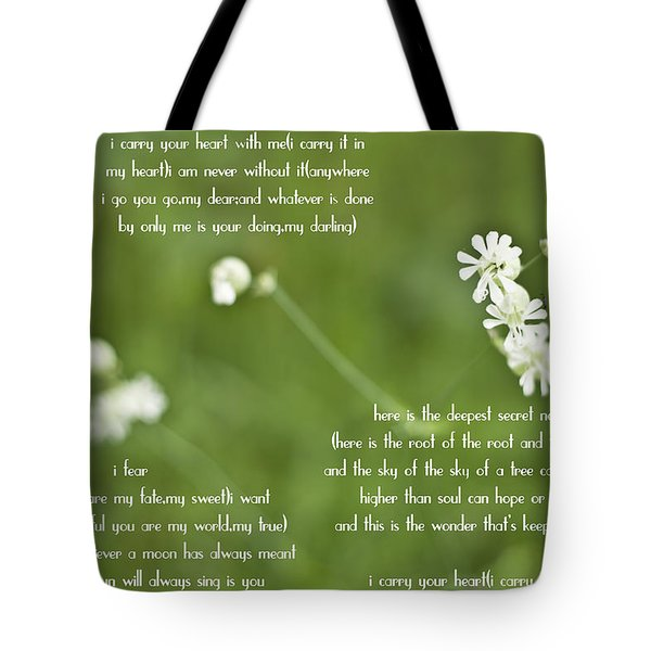 I Carry Your Heart Tote Bag by Nomad Art And  Design