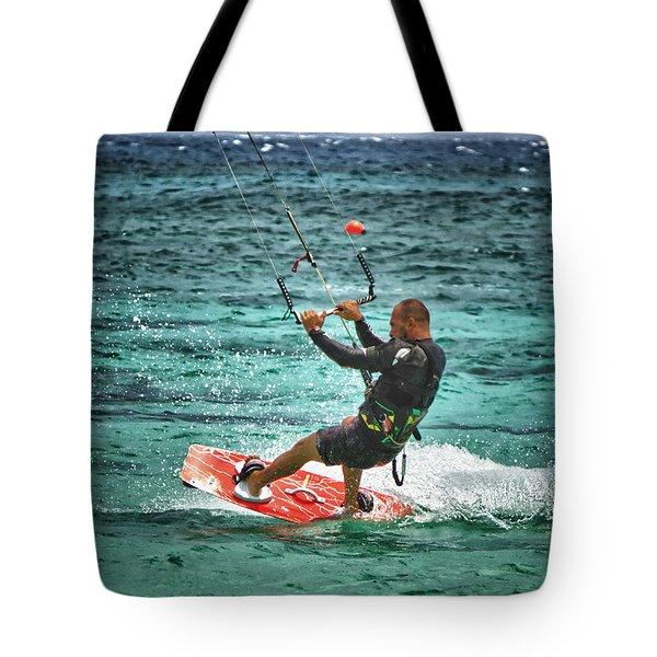 kiesurfing Tote Bag by Stylianos Kleanthous