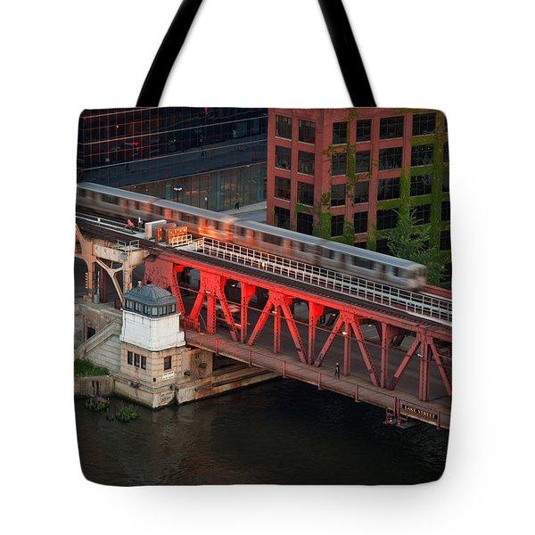 Lake Street Crossing Chicago River Tote Bag by Steve Gadomski