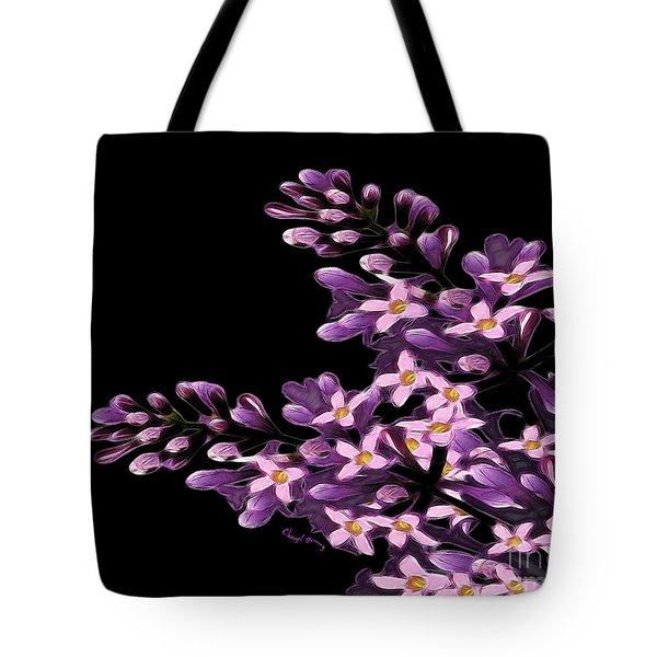 Lilacs Tote Bag by Cheryl Young