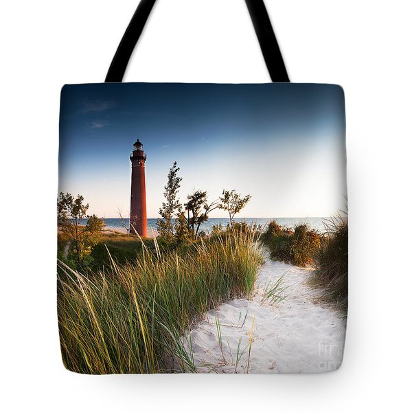 Little Sable Point Light Station Tote Bag by Larry Carr