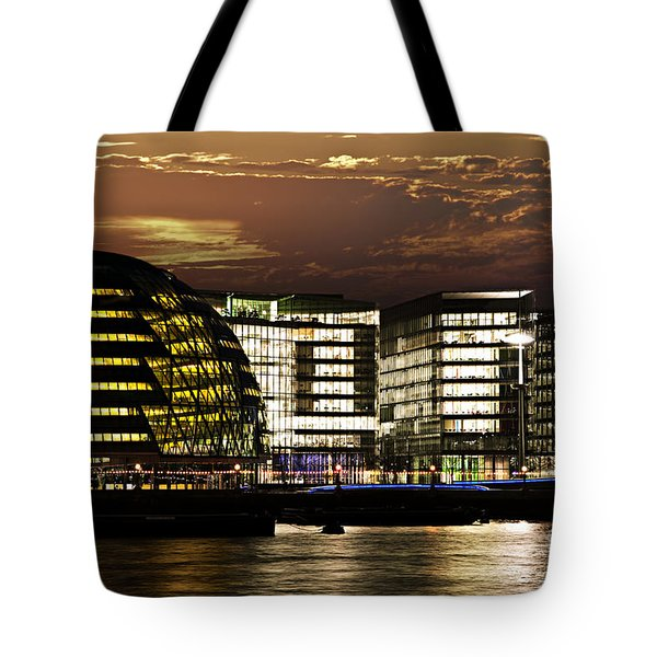 London city hall at night Tote Bag by Elena Elisseeva