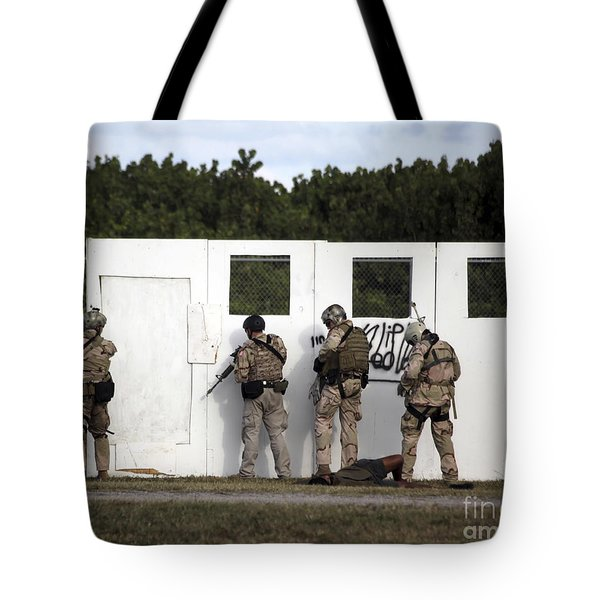 Military Reserve Members Prepare Tote Bag by Michael Wood