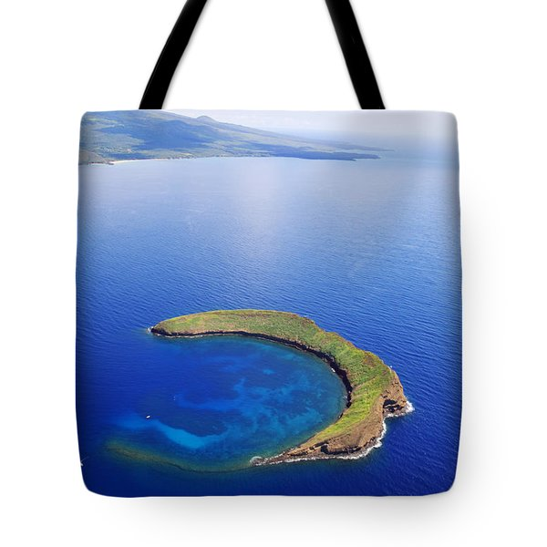 Molokini Aerial Tote Bag by Ron Dahlquist - Printscapes
