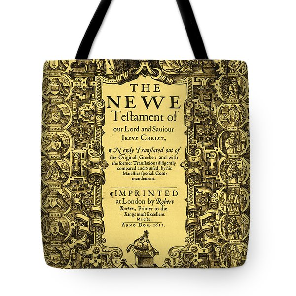 New Testament, King James Bible Tote Bag by Photo Researchers