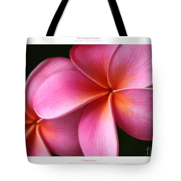 Pua Lei Aloha Cherished Blossom Pink Tropical Plumeria Hina Ma Lai Lena O Hawaii Tote Bag by Sharon Mau
