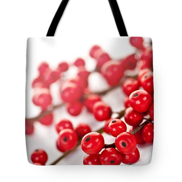 Red Christmas berries Tote Bag by Elena Elisseeva