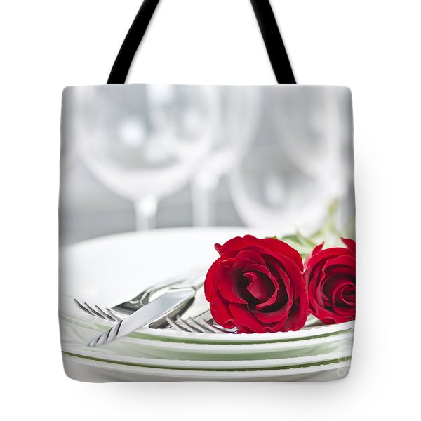 Romantic dinner setting Tote Bag by Elena Elisseeva