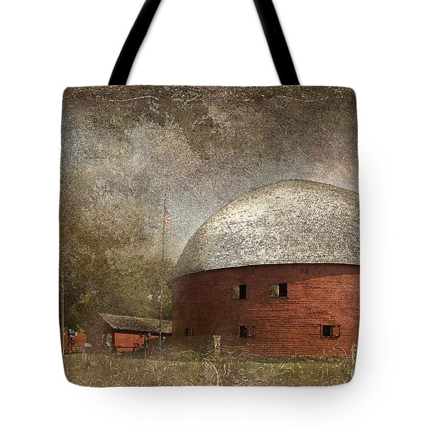 Route 66 Round Barn Tote Bag by Betty LaRue