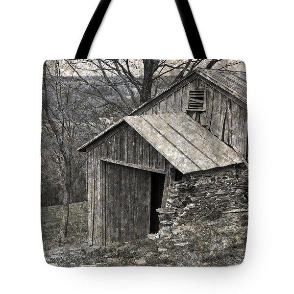 Rustic Hillside Barn Closeup Tote Bag by John Stephens