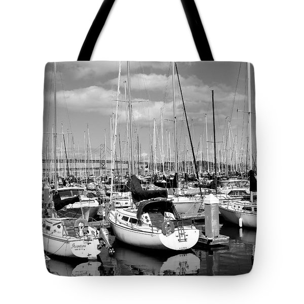 Sail Boats at San Francisco China Basin Pier 42 With The Bay Bridge in The Background . 7D7666 Tote Bag by Wingsdomain Art and Photography