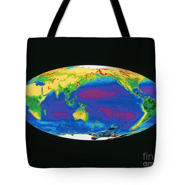 Satellite Image Of The Earths Biosphere Tote Bag by Dr. Gene Feldman, NASA Goddard Space Flight Center