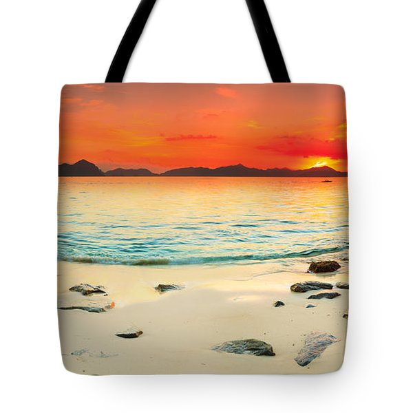 Seascape Panorama Tote Bag by MotHaiBaPhoto Prints