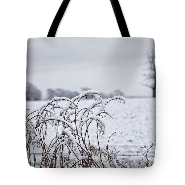 Snow Covered Trees And Field Tote Bag by John Short