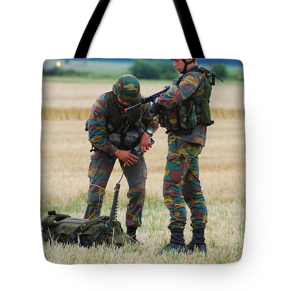 Soldiers Of The Belgian Army Tote Bag by Luc De Jaeger