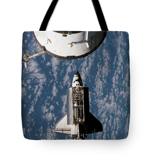 Space Shuttle Atlantis Approaching Tote Bag by Stocktrek Images