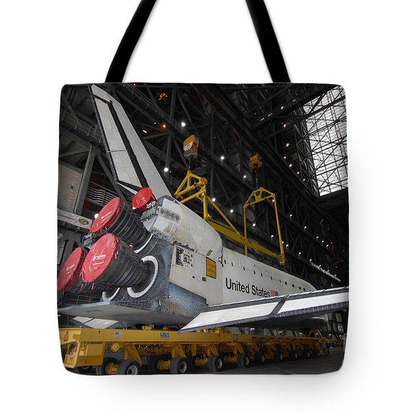 Space Shuttle Atlantis Rolls Tote Bag by Stocktrek Images