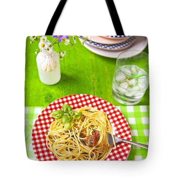 Spaghetti al pesto Tote Bag by Joana Kruse