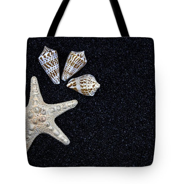 starfish on black sand Tote Bag by Joana Kruse