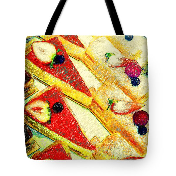 Strawberry Cakes Tote Bag by Wingsdomain Art and Photography