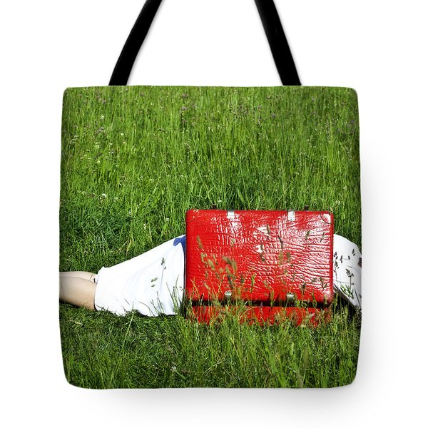 The Red Suitcase Tote Bag by Joana Kruse