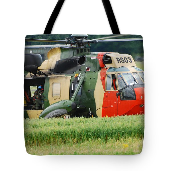 The Sea King Helicopter Of The Belgian Tote Bag by Luc De Jaeger