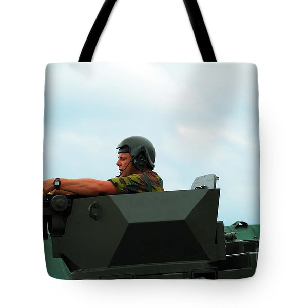 The Turret Of A Pandur Wheeled Armoured Tote Bag by Luc De Jaeger