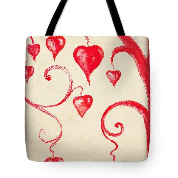 Tree Of Heart Painting On Paper Tote Bag by Setsiri Silapasuwanchai