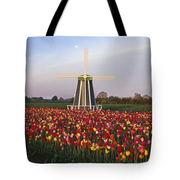 Tulip Field And Windmill Tote Bag by Natural Selection Craig Tuttle