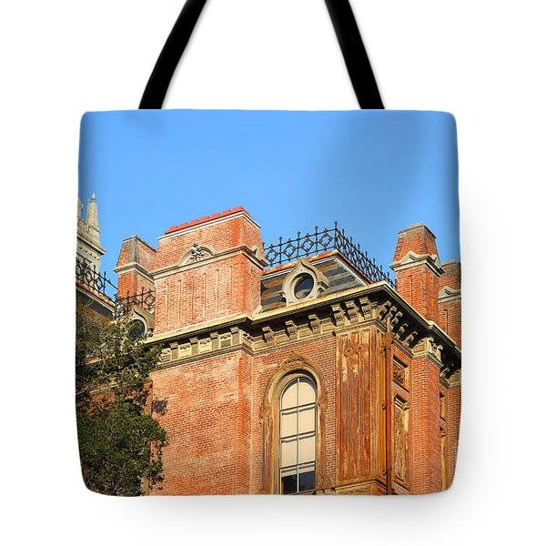 Uc Berkeley . South Hall . Oldest Building At Uc Berkeley . Built 1873 . The Campanile In The Back Tote Bag by Wingsdomain Art and Photography