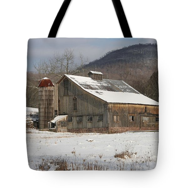 Vintage Weathered Wooden Barn Tote Bag by John Stephens