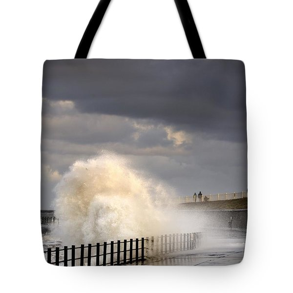 Waves Crashing, Sunderland, Tyne And Tote Bag by John Short