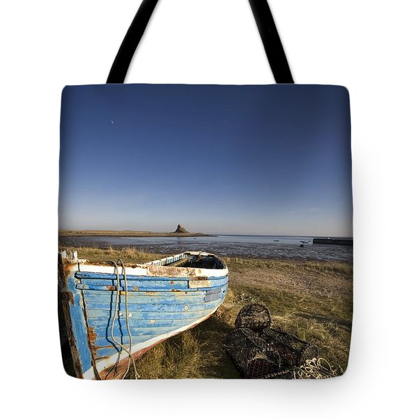Weathered Fishing Boat On Shore, Holy Tote Bag by John Short