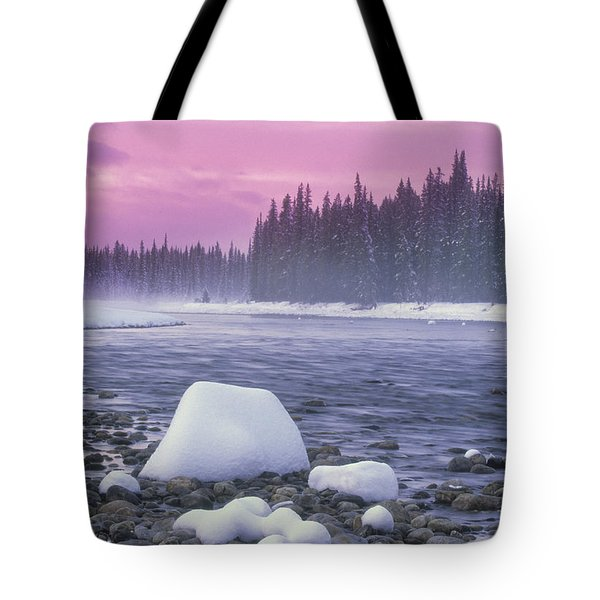 Winter Sunset On Bow River, Banff Tote Bag by Darwin Wiggett