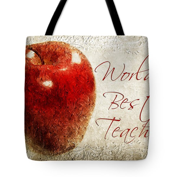 Worlds Best Teacher Tote Bag by Andee Design