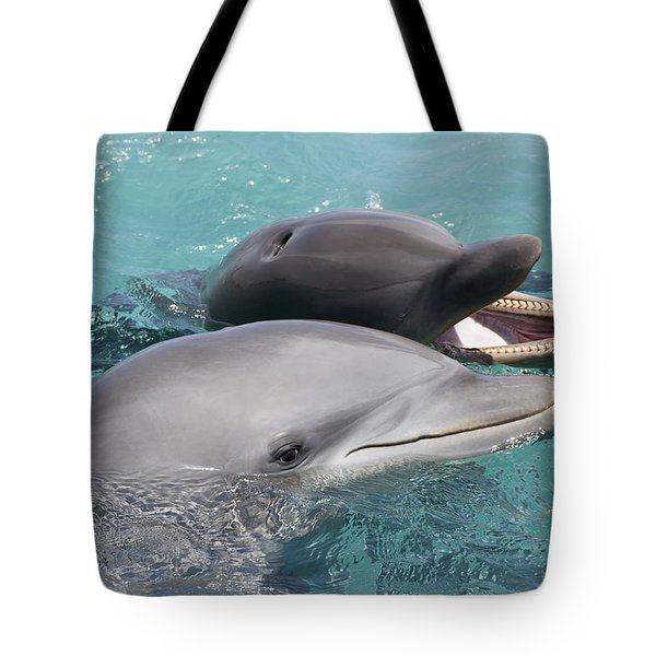Atlantic Bottlenose Dolphins Tote Bag by Dave Fleetham