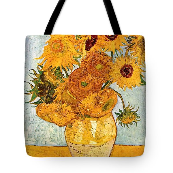 12 Sunflowers In A Vase Tote Bag by Sumit Mehndiratta