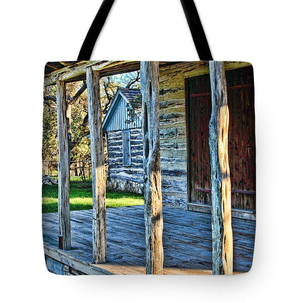 1860 Log Cabin Porch Tote Bag by Linda Phelps