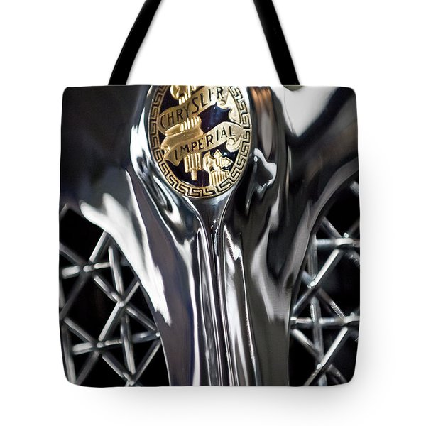 1931 Chrysler Cg Imperial Roadster Hood Emblem Tote Bag by Jill Reger