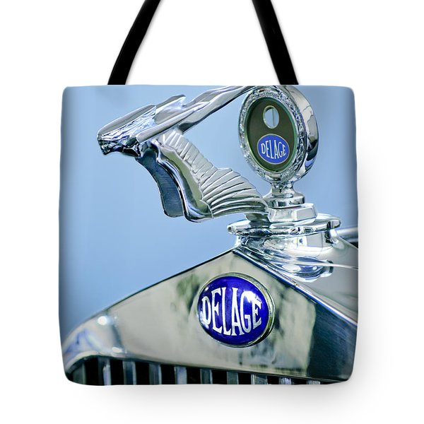 1933 Delage D8S Coupe Hood Ornament Tote Bag by Jill Reger