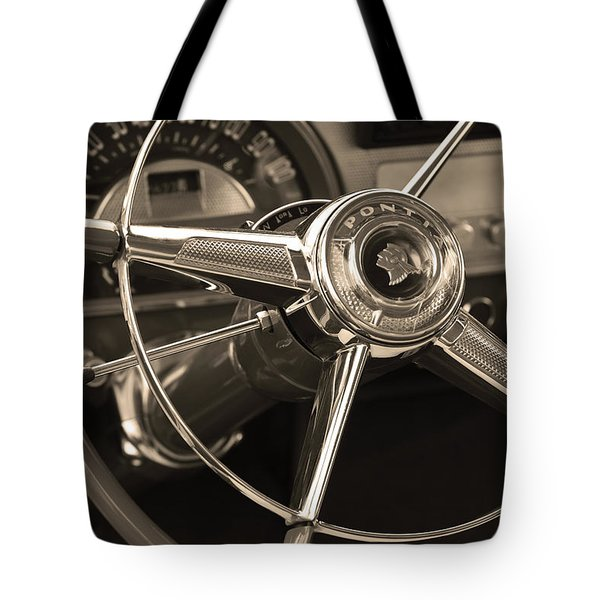 1953 Pontiac Steering Wheel - Sepia Tote Bag by Jill Reger