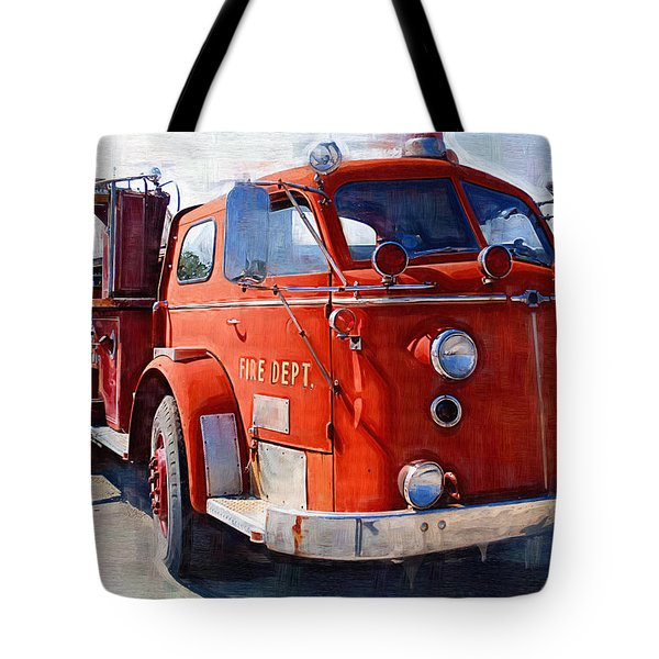 1954 American LaFrance Classic Fire Engine Truck Tote Bag by Kathy Clark