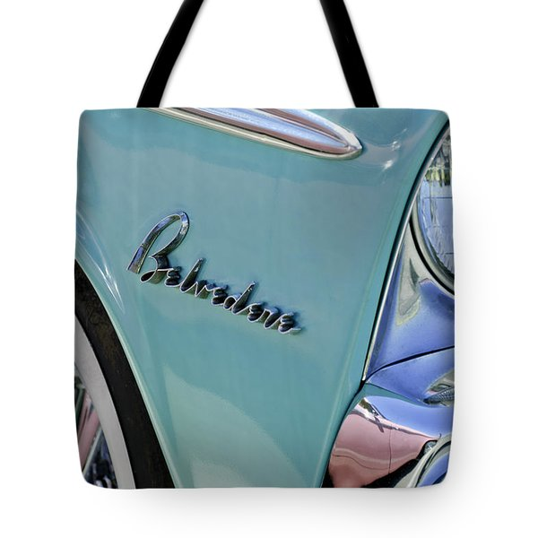 1955 Plymouth Belvedere Emblem Tote Bag by Jill Reger