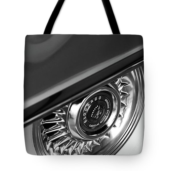 1956 Cadillac Eldorado Wheel Black And White Tote Bag by Jill Reger