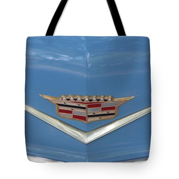 1956 Cadillac Emblem Tote Bag by Linda Phelps