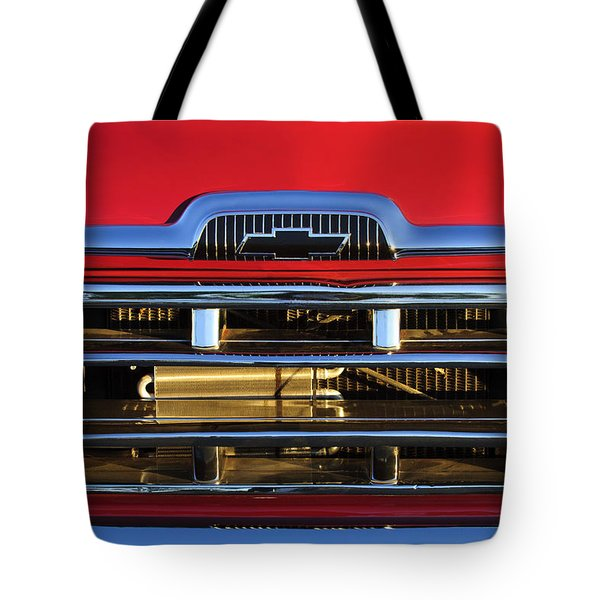 1957 Chevrolet Pickup Truck Grille Emblem Tote Bag by Jill Reger
